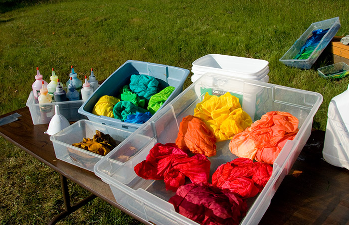 A batch of freshly-dyed fabrics, curing in the sun