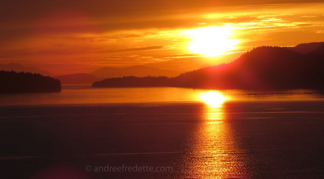Sunset on Navy Channel, Southern Gulf Islands, BC. Photo © Andrée Fredette