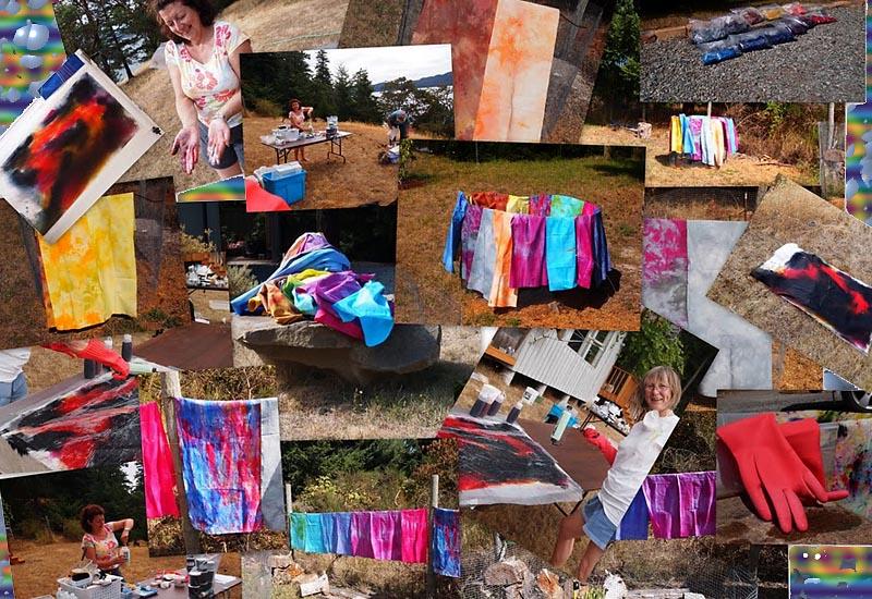 Fabrics, hand-dyed on Saturna