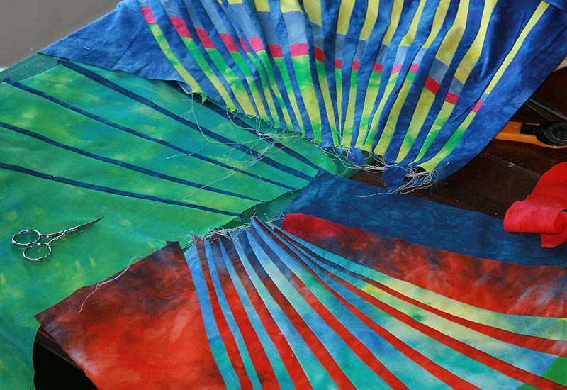 Hand-dyed fabrics, pieced