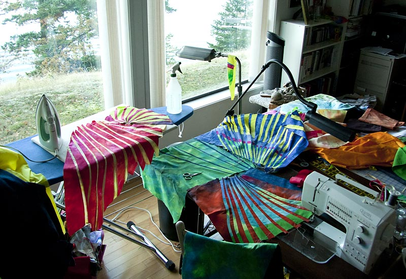 Hand-dyed fabrics, pieced... Messy studio