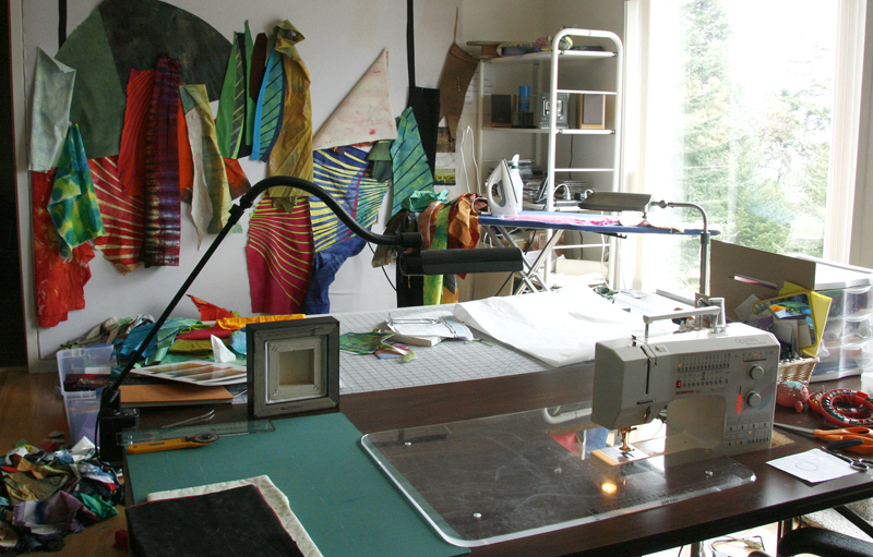 Busy sewing studio on Saturna island, BC