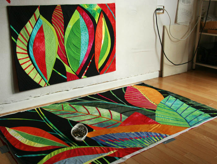 Que Onda and Its a Jungle, 2 new quilts (work in progress) by Andrée Fredette