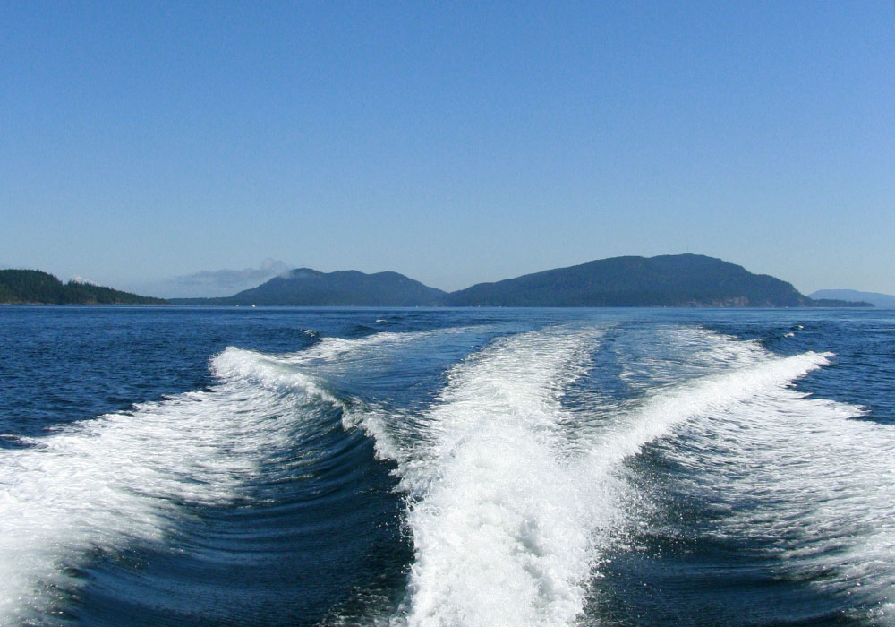 Saturna Island, viewed from the back of a fast boat