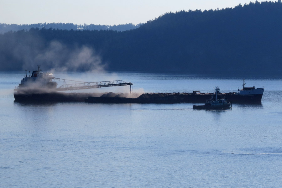 CSL Gypsum Unloading onto barges, in Plumper Sound, Southern Gulf Islands, BC