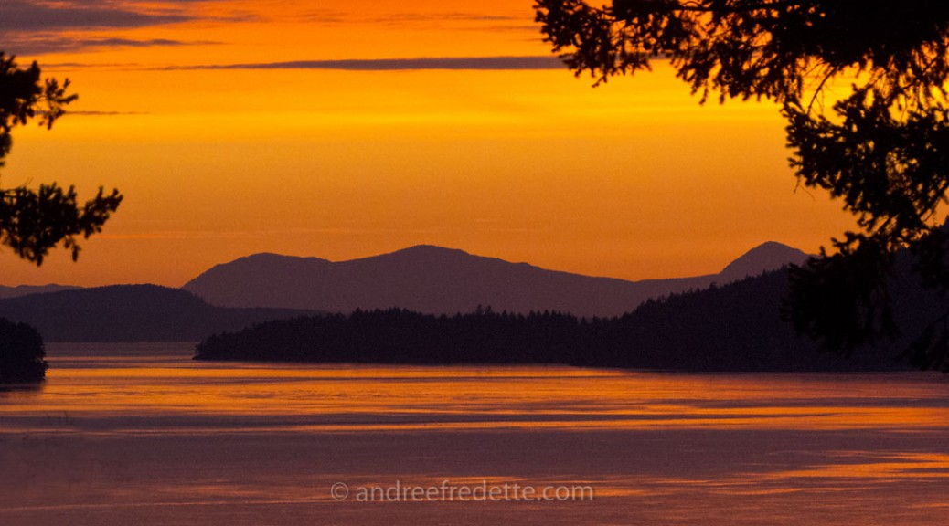 June Sunset over Navy Pass, Southern Gulf Islands, BC. Photo by Andrée Fredette