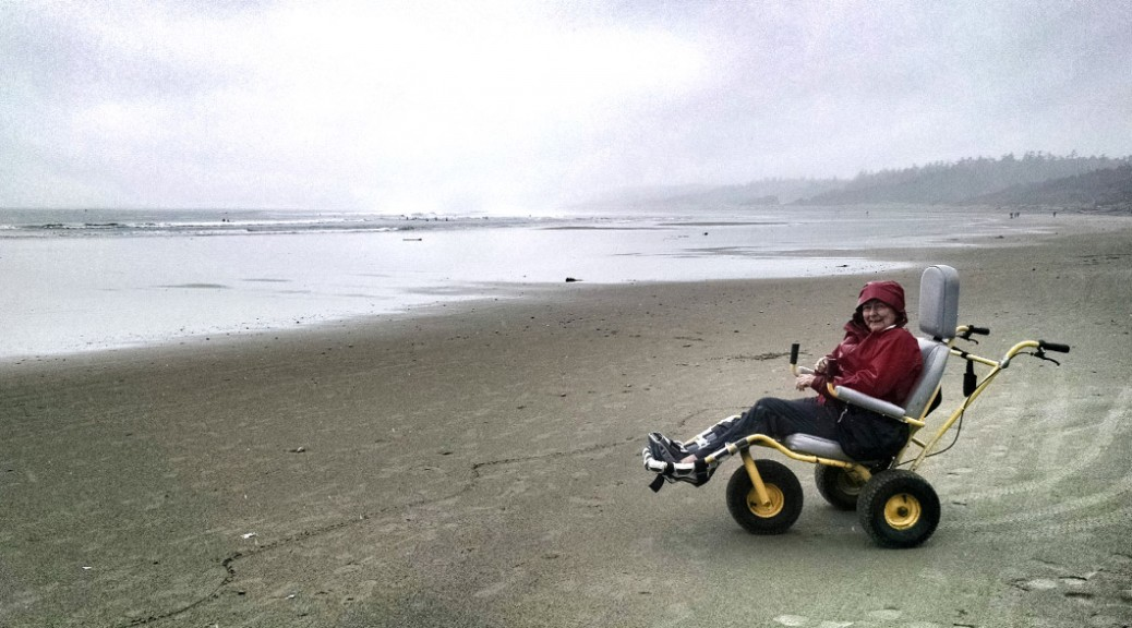 Beach Wheelchair, Wickaninnish Beach, Pacific Rim National Park. Vancouver Island, BC.