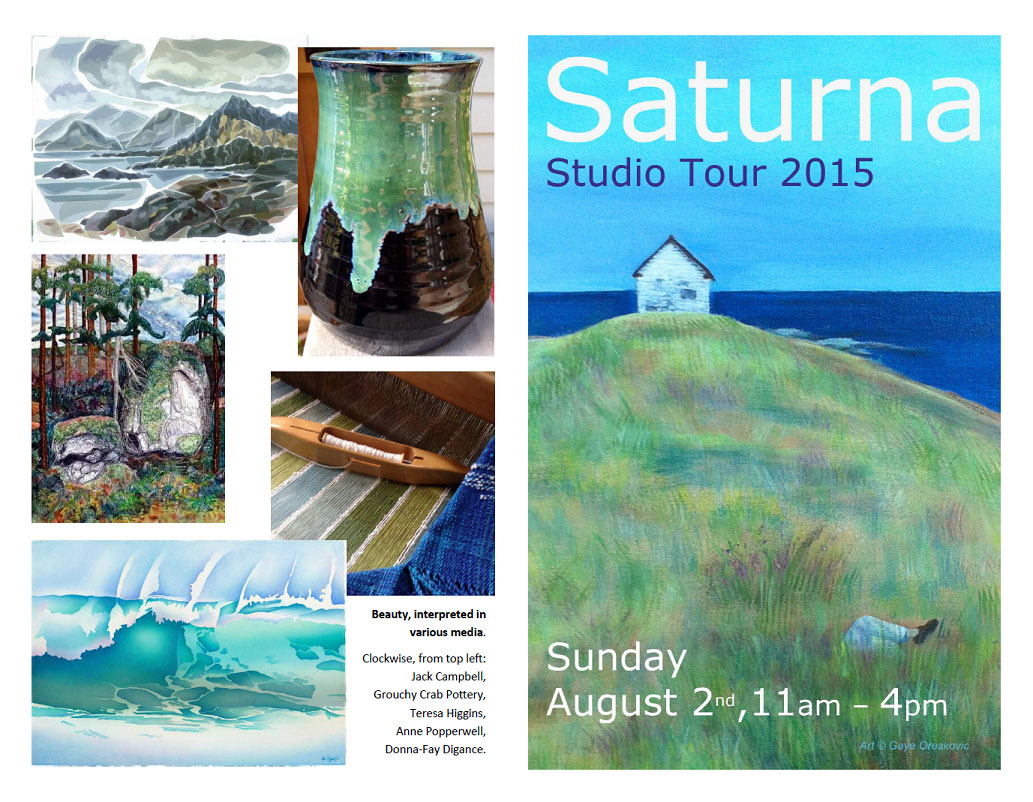 Saturna Studio Tour 2015 cover page. Sunday, August 2, 2015, from 11 am to 4 pm