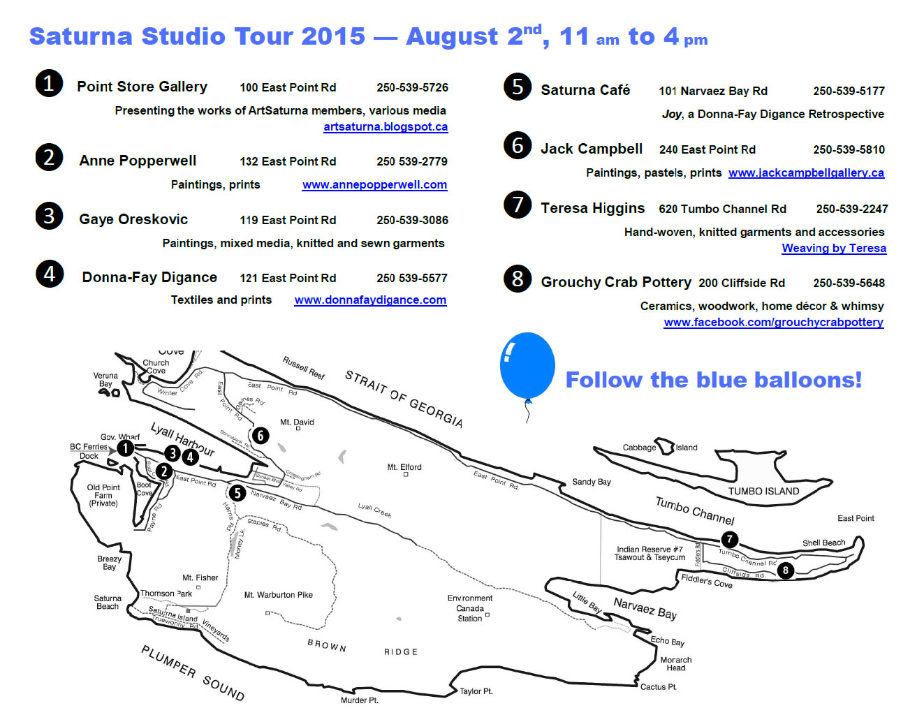 Saturna Studio Tour 2015 Map with participating artists locations and websites.