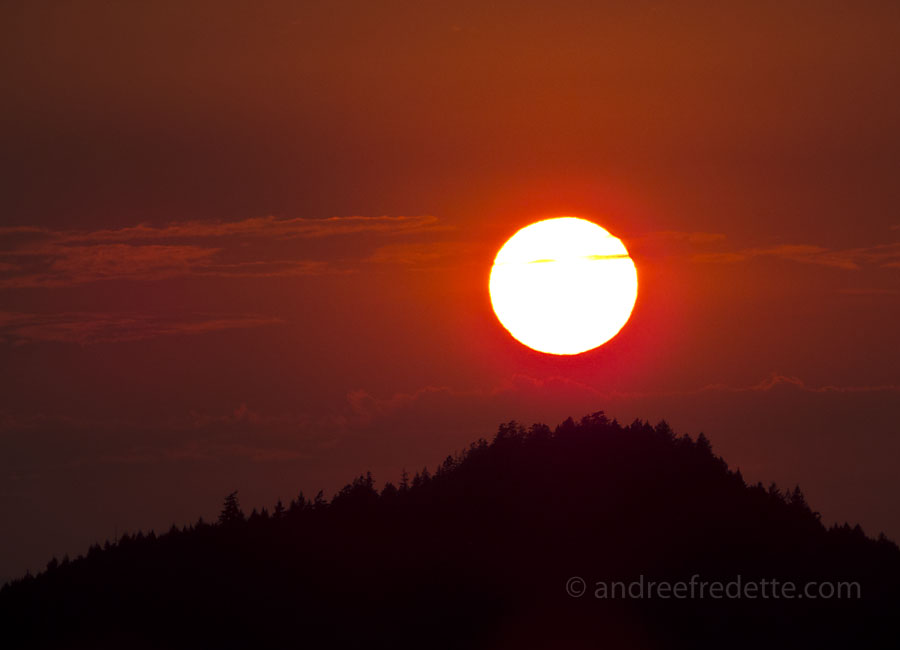 Sunset over Pender Island, Southern Gulf Islands of BC. Photo by Andrée Fredette