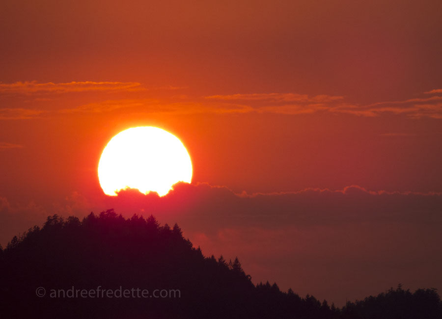 Sunset over Pender Island, August 12, 2015. Photo by Andrée Fredette