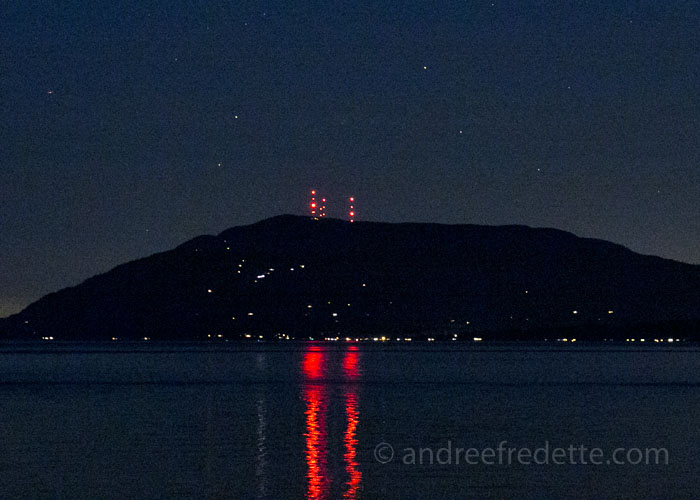 Night Lights on Orcas Island, viewed from Saturna Island, BC. Photo by Andrée Fredette