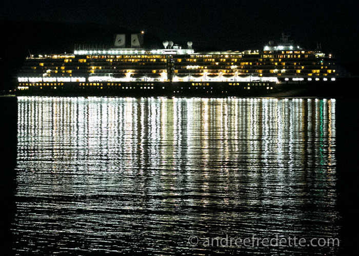 Oosterdam Cruise Ship and its light show, passing by Saturna Island, BC. Photo by Andrée Fredette