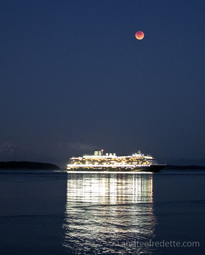 Red Moon over the Oosterdam cruise ship in Boundary Passs. Photo by Andrée Fredette