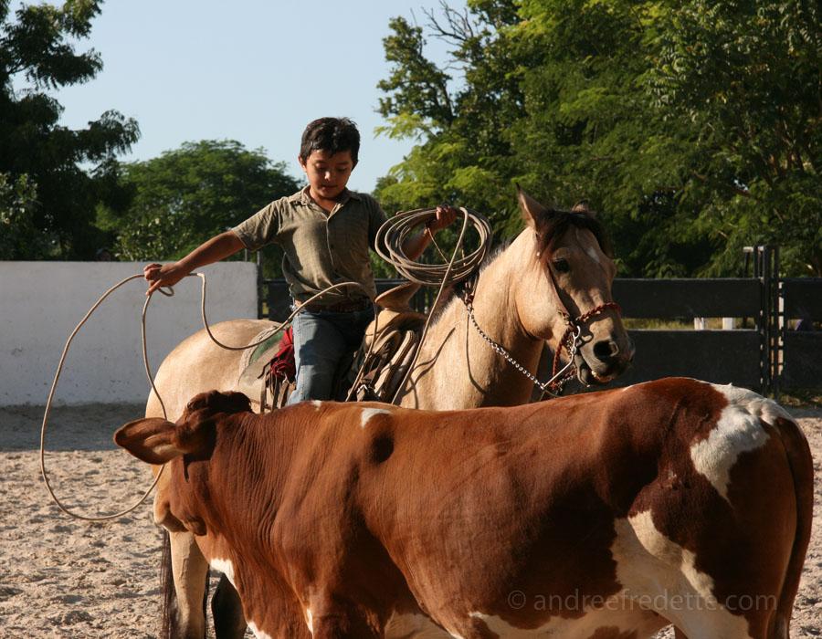 The youngest cowboy, retrieving his lasso. Hacienda Kancabchen, Yucatan, Mexico. Photo by Andrée Fredette