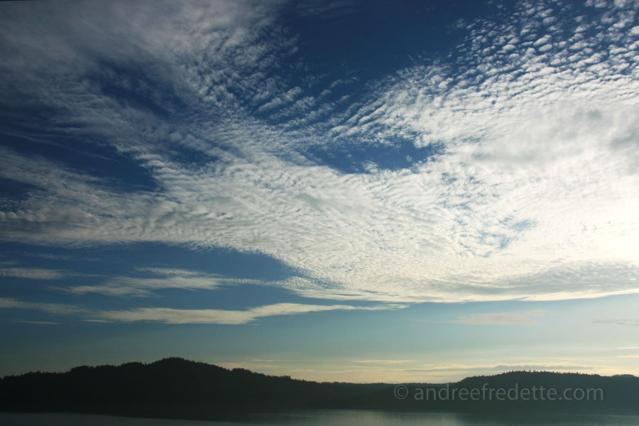 Sky and cloud action, briks wind. Saturna Island. Photo by Andrée Fredette