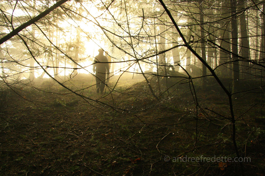 Hikers on a foggy trail, Saturna Island, BC. Photo by Andrée Fredette