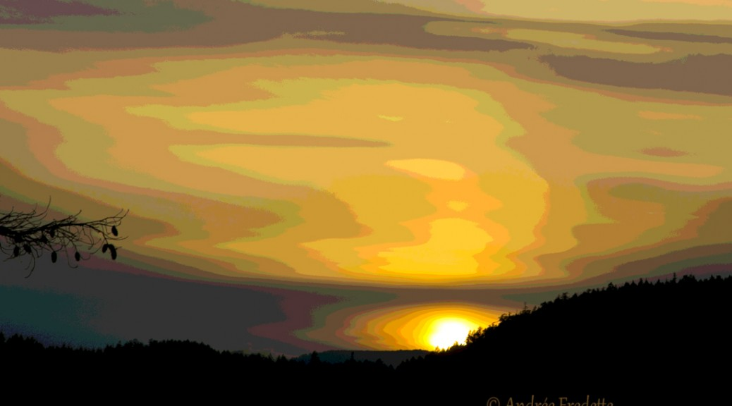 February 20 sunset, stylized. Photo by Andrée Fredette