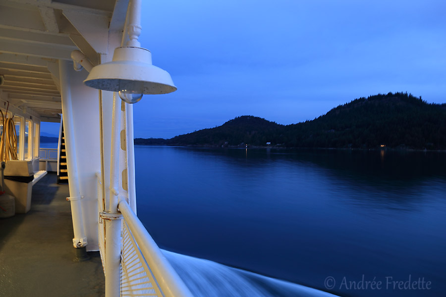 Mayne Queen ferry, going up Navy Channel, with Mayne Island on the right. Photo by Andrée Fredette