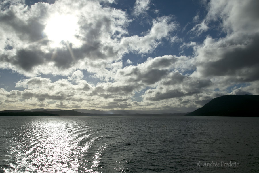 Ferry wake, dramatic sky, Friday afternoon. Photo by Andrée Fredette