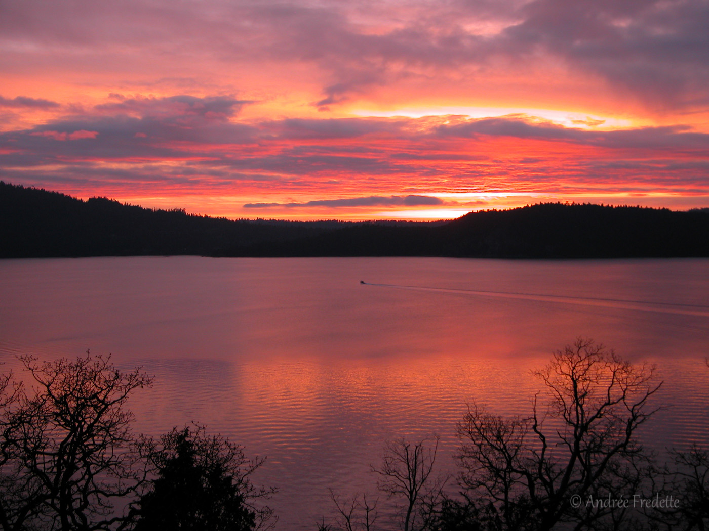 December 2005 sunset with Pender Island in the background. Photo by Andrée Fredette