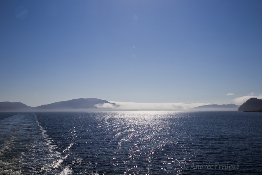 From the back of the ferry, fog between Saturna and Pender Islands, BC. Photo by Andrée Fredette