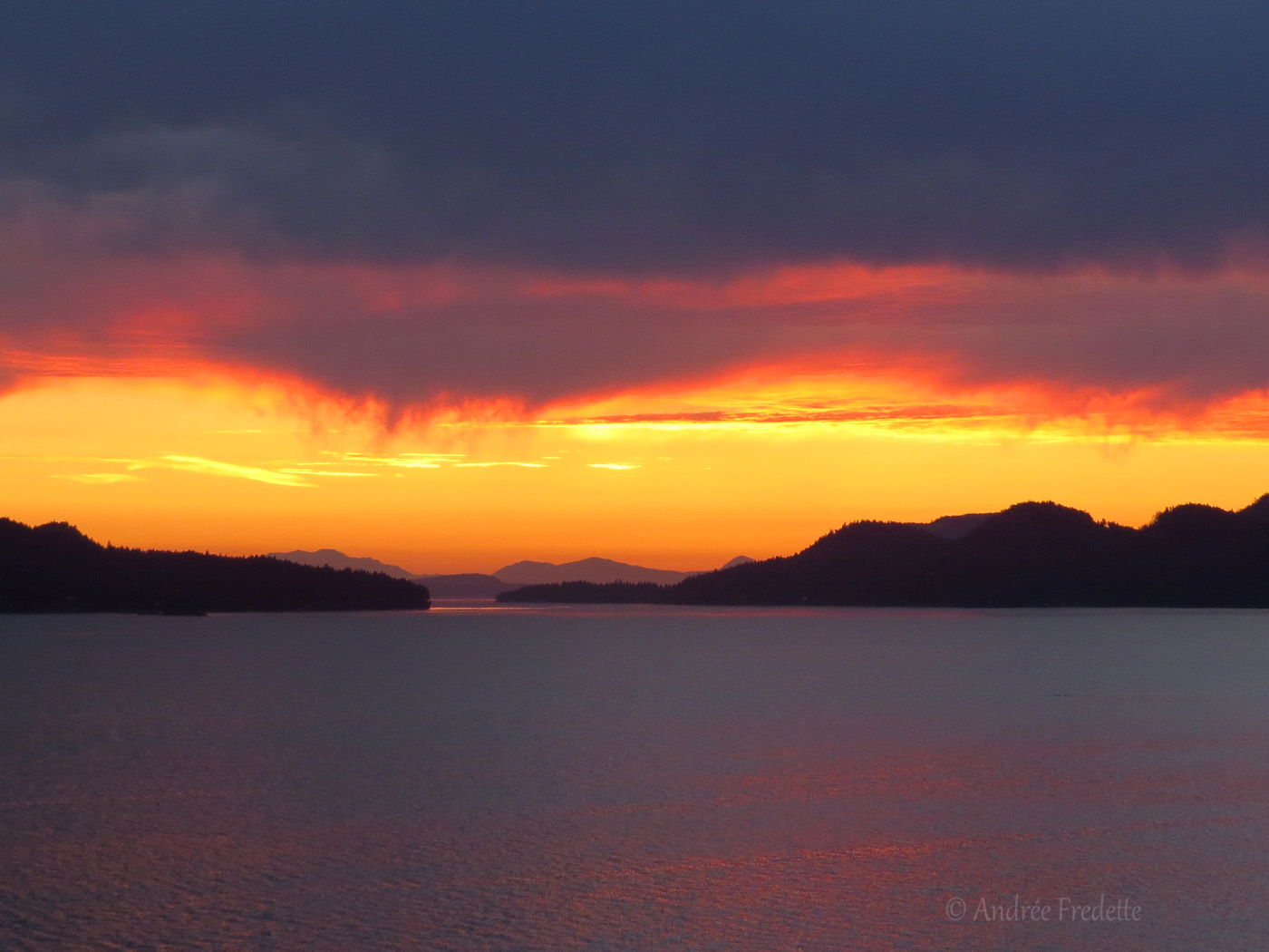 Sunset drama over Navy Channel, Southern Gulf Islands, BC. Photo by Andrée Fredette