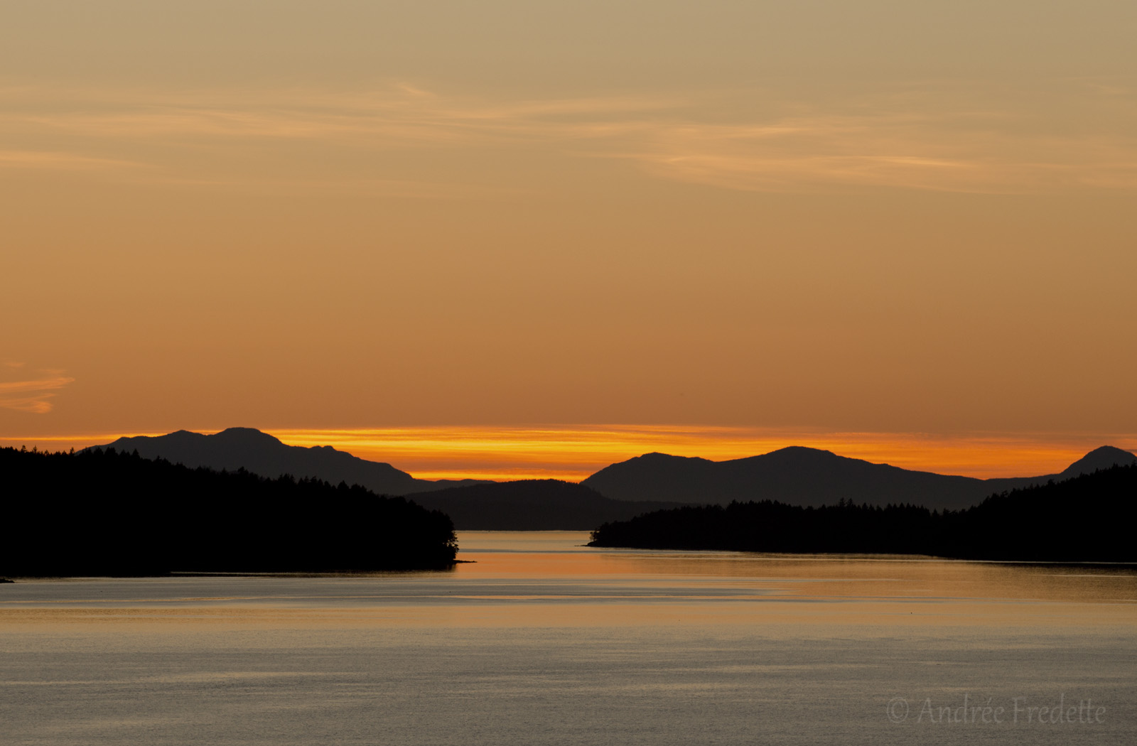 First of May sunset, viewed from Saturna Island, BC. Photo by Andrée Fredette