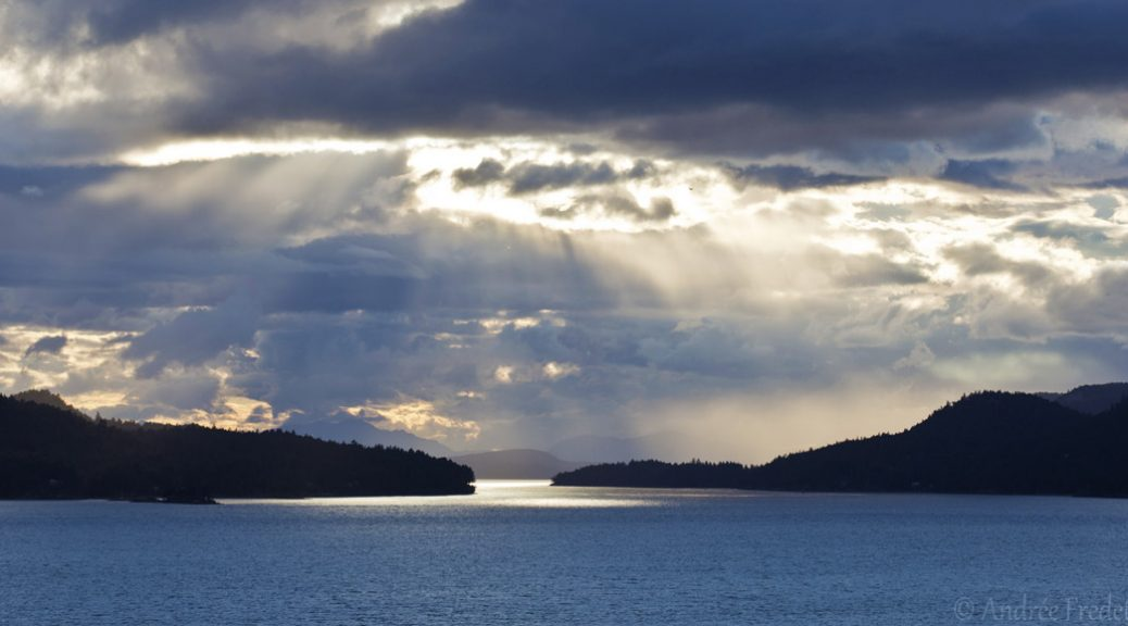 June 14, cloudy sunset drama, Southern Gulf Islands, BC. Photo by Andrée Fredette