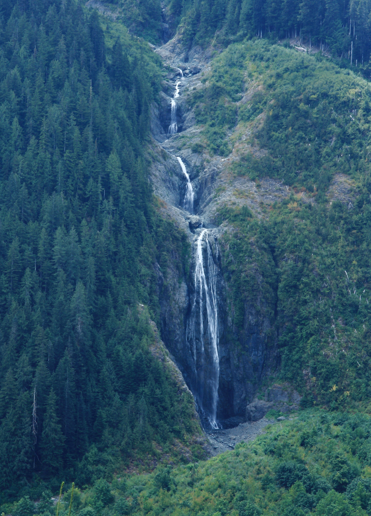 Secret waterfall, from a forest service road. Vancouver Island, BC. Photo by Andrée Fredette