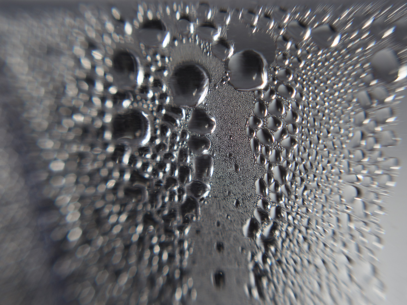 Condensation on the side of a Brita filter. Macro photo by Andrée Fredette